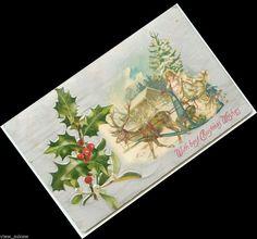 C567 WHITE ROBE SANTA REINDEER PULLS SLED ANGEL CARRIES TREE  SILK 1907 POSTCARD #Christmas