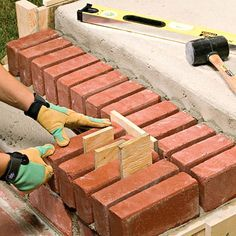 How to Finish your Steps With Mortared Brick - Add classic design style and instant curb appeal to your home by laying bricks on your exterior ste - Brick Porch, Concrete Porch, Concrete Steps, Outdoor Walkway, Brick Walkway, Outdoor Steps, Slate Walkway, Brick Projects, Outdoor Projects