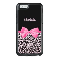 Girly Pink Black Leopard Print Cute Bow and Name OtterBox iPhone Case - Don't you just love prints? Vintage Phone Case, Funny Iphone Cases, Pink Leopard Print, Bling, Bow Design, Trendy Wallpaper, Iphone Accessories, Cute Bows, Apple Iphone 6