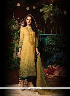 Prominent Embroidered Work Yellow Designer Straight Salwar Kameez Model: YOS7248