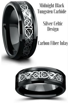 Mens celtic wedding rings crafted out of tungsten carbide. The celtic designed is resting on top of a black woven carbon fiber inlay. This makes the perfect celtic wedding ring.