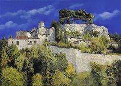 Il Villaggio In Blu Painting  Guido Borelli