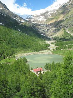 Near St. Moritz Switzerland, view from the Glacier Express train.