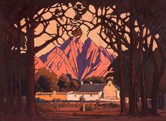 An unseen painting by South African landscape artist JH Pierneef broke multiple records on Monday when it was sold for a cool painting, called Farm Jonkershoek with Twin Peaks Beyond, Stellenbosch, was put under the hammer by. World Famous Painters, Most Expensive Painting, African Art Paintings, Paintings Famous, South African Artists, Fine Art Auctions, Landscape Paintings, Landscapes, Landscape Art