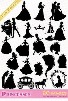 Princesses (Disney, ...) - Fichiers SVG, EPS, Silhouette Studio et DXF
