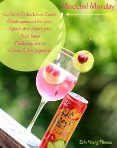 Mocktail Monday  ~La Croix Cerise Limon Curate ~Fresh squeezed lime juice ~Splash of cranberry juice ~Fresh limes ~Fresh raspberries ~Cherry & lime to garnish