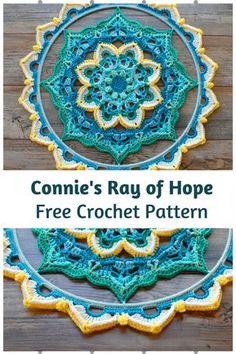 Crochet Motif Connie's Ray of Hope Is An Amazing Crochet Mandala Wall Hanging Free Pattern - This crochet mandala wall hanging free pattern is visually interesting and so beautiful!You can create some unique beautiful art with this pattern. Crochet Wall Art, Crochet Wall Hangings, Crochet Home, Diy Crochet, Crochet Doilies, Dishcloth Crochet, Crochet Afghans, Crochet Blankets, Crochet Ideas