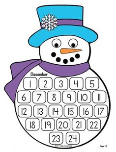 Count Down the Days to Christmas - December. by Kathy Goosev Howell Christmas Countdown Calendar, December Calendar, Diy Advent Calendar, Kids Calendar, Christmas Quiz, 25 Days Of Christmas, Simple Christmas, Kids Christmas, Christmas Bingo