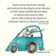"""""""Don't worry about how slowly you feel you're heading to your dreams, or how many roadblocks you find, or detours you need to take, you're still cruising far ahead of everyone who's too afraid to even try."""" —Karen Salmansohn"""