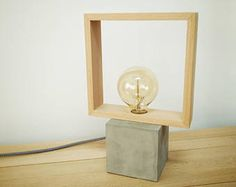 "Lámpara mesa moderna hormigón madera cuadrada, Hormigón, Lámpara moderna, Lámpara mesa, Lámpara cemento, Lámpara madera, Lámpara CCMCN"""