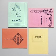 4 old French notebooks. Color palette