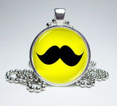 Mustache Glass Dome Silver Necklace Art Glass by MissTanDesigns