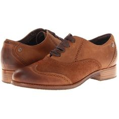 Sebago Claremont Brogue (Cinnamon/Bronze) Women's Lace Up Wing Tip... ($145) ❤ liked on Polyvore featuring shoes, oxfords, oxford lace up shoes, wing tip oxfords, oxford brogues, anti slip shoes and balmoral oxfords
