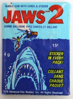 3 Packs of Vintage Topps Jaws 2 Wax Pack Cards Stickers 1978 Movie Spielberg Vintage Movies, Vintage Toys, Jaws Movie, Jaws 2, Collector Cards, Vintage Horror, My Childhood Memories, Vintage Labels, Classic Toys