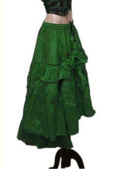 TGLS ~ Asymmetrical Gypsy Goth Victorian Steampunk Silk Cotton Ruffle Skirt   #TheGasLightShoppe #AsymmetricalRuffleSkirtONLYVestNotIncluded
