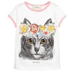 Gucci Girls White Flower Cat T-Shirt at Childrensalon.com