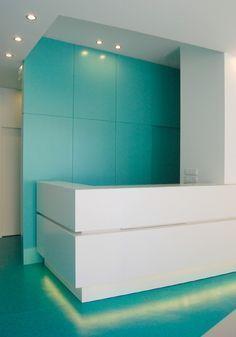 Dental Clinic, by David Cardoso & Joana Marques, in Porto, Portugal Dental Office Decor, Medical Office Design, Pharmacy Design, Healthcare Design, Dental Reception, Reception Desk Design, Clinic Interior Design, Clinic Design, Office Waiting Rooms