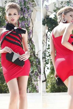 Thin Short One Shoulder Sleeveless Spring Summer Chic & Modern Misses Accented Bow Cocktail Dress