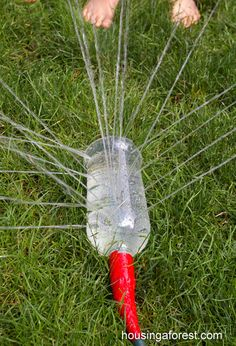 Beat the heat tomorrow by making this DIY sprinkler! No need to go and buy one. The kids will have more fun making it themselves.