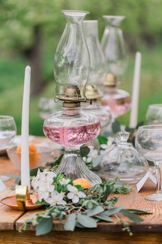 hurricane lamps, table scape, wedding, sweetheart table, copper, candle sticks, centerpiece, spring