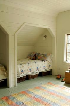 Magnificent Attic bedroom fire safety,Attic remodel steps and Attic renovation value. Alcove Bed, Bed Nook, Bunk Rooms, Attic Bedrooms, Attic Bedroom Ideas Angled Ceilings, Rooms With Slanted Ceilings, Slanted Ceiling Bedroom, Slanted Walls, Master Bedrooms