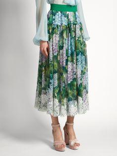 Hortensia-print lace-trimmed chiffon skirt | Dolce & Gabbana | MATCHESFASHION.COM