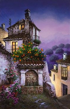 Luis Romero was born in Ronda in 1948 in Spain and uses Spray paint to show his artistic creativity. His paintings and art works are liked by many and apprec. Pintura Colonial, Graffiti Kunst, Spanish Painters, City Landscape, Arte Floral, Naive Art, House Painting, Painting Techniques, Beautiful Landscapes