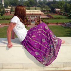 Gypsy Skirt: Long Purple Maxi  Indian Boho Bohemian Eggplant Sequin Floral Crinkle Flowy Peasant Skirt. $36.99, via Etsy.