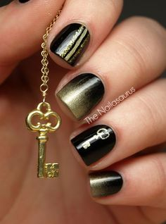Black and gold. A different design on each nail.
