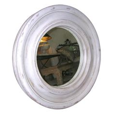 White Painted and Distressed Round Mirror | From a unique collection of antique and modern wall mirrors at http://www.1stdibs.com/furniture/mirrors/wall-mirrors/