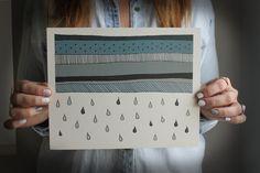 print . rain storm print 8 x 10 . geometric rain cloud print . rain drops . storm . cloud . rain . blue gray. home decor