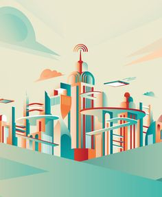 Looks like a little RSS feed on top of the Chrysler Building.  Future Cities Illustrations