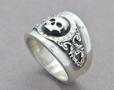 The Reaper Ring Skull Ring Sterling Silver Ring Men's Mens Skull Rings, Silver Skull Ring, Gold Ring, Black Gold Jewelry, Sterling Silver Jewelry, 925 Silver, Skull Wedding Ring, Gothic Engagement Ring, Gothic Rings