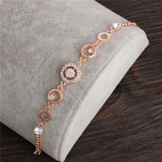 Rose Gold Plated Chain Link Bracelet for Women Ladies Shining AAA Cubic Zircon Crystal Jewelry Gift Wholesale Price Crystal Jewelry, Pendant Jewelry, Gold Jewelry, Jewelry Bracelets, Jewellery, Chain Bracelets, Gold Chain Design, Gold Bangles Design, Stylish Jewelry