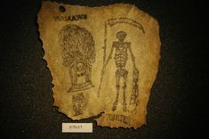 19th c. panel of tattooed skin from the Wellcome Collection in London. Memorial tattoo