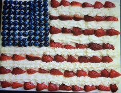 Bandiera americana con frutta invitante dall'aspetto