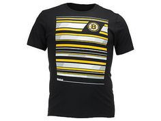 Boston Bruins Reebok NHL Black Changing Lanes Logo Mens T-Shirt