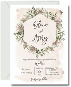 Shabby Chic Wedding Invitations featuring a watercolor background splashed in blush. Order professionally printed invitations today or easy digital template. Invitaciones Shabby Chic, Shabby Chic Wedding Invitations, Wedding Invitation Design, Shabby Chic Cakes, Shabby Chic Flowers, Shabby Chic Decor, Wedding Card Wordings, Wedding Cards, Cake Wedding