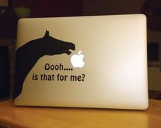 If only I had a MAC. Horse Eating Apple MAC Laptop decal by thelatestBuzz on Etsy