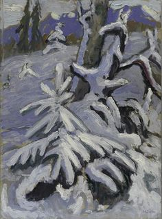 GabrieleMünter (All. 1877-1962),Paysage d'hiver,1933,huile sur bois, ..