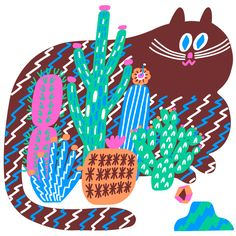 Cactus cat. Tina Muat.    I would like to have the kids make something like this, maybe Billy makes the cat, the kids paint the stripes and each makes a cactus?