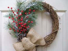 Winter Pine Burlap and Berry Wreath  Winter by AWorkofHeartSA, $60.00