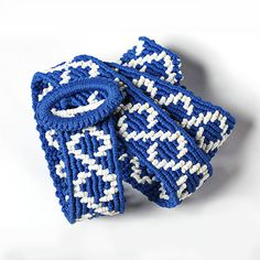 Macrame belt Life Lines blue and white knotted belt by makrame, $77.00
