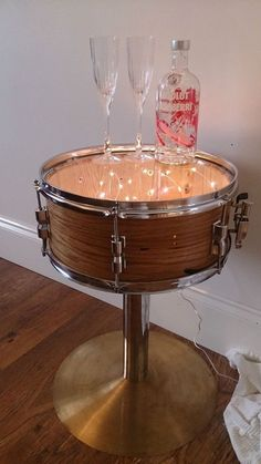 Shabby Chic Side Table. Upcycled Drum & Cymbals incl 100 LED Lights & Glass Top