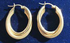 14kt Gold Earrings 4.27 grams Oval Hoops Snap Bar Closure Loop Vintage #Hoop