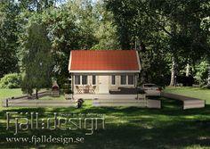 3D modellerad, renderad bild inplacerad i fotografi föreställande nybyggt hus. Pinned from fjalldesign.se