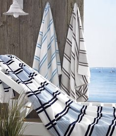 Beach Towel Oversized Extra Large 40 X 70 Spiaggia Marina by Kassatex Navy Sky Blue White Striped Organic Cotton
