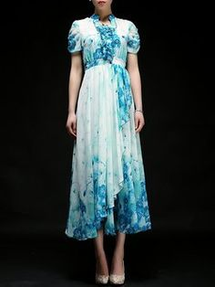 Casual Short Sleeve Floral A-line Maxi Dress