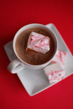 Homemade Peppermint Marshmallows  Great gift idea with hot chocolate mix in a tin or jar!