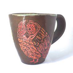 Ceramic Coffee Cup, owl mug handmade espresso cup small wheel thrown... ($22) ❤ liked on Polyvore featuring home, kitchen & dining, drinkware, handmade pottery mugs, ceramic espresso cups, chocolate mug, stoneware mugs and handmade mugs